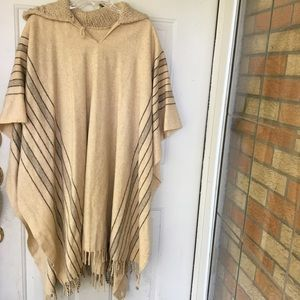 Vintage Poncho Womens Mens One Size blanket shawl
